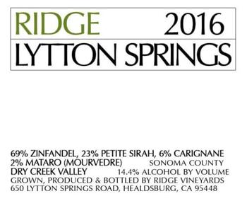 Ridge 2016 Lytton Springs 1.5L